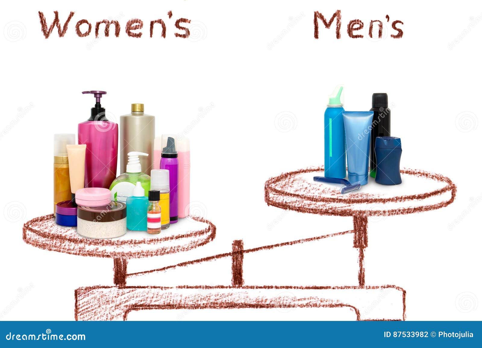 Die Ungleichheit von männlichen und weiblichen Kosmetik auf den Skalen