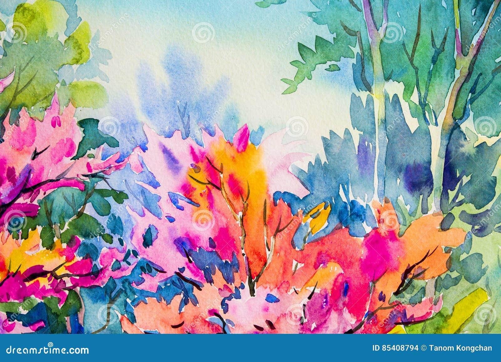 Die ursprüngliche Malerei des abstrakten Aquarells, die von der Schönheit bunt ist, blüht