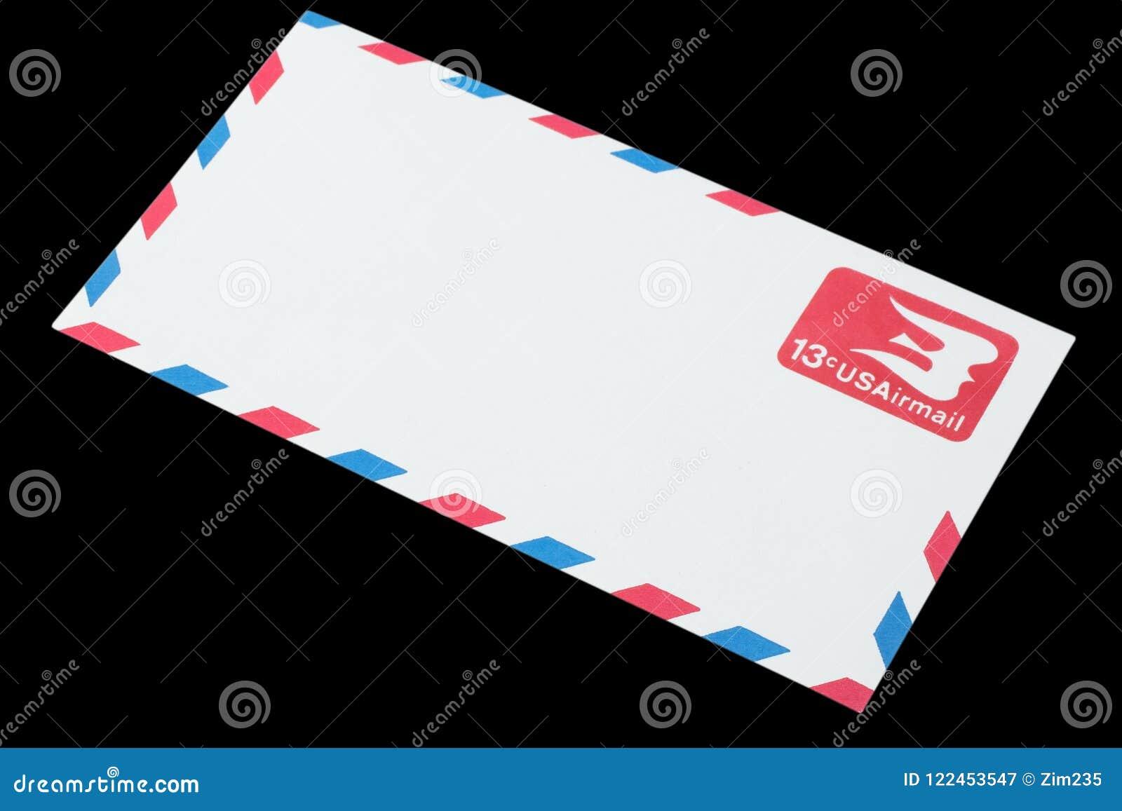 DIE VEREINIGTEN STAATEN VON AMERIKA - CIRCA 1968: Ein alter Umschlag für Luftpost