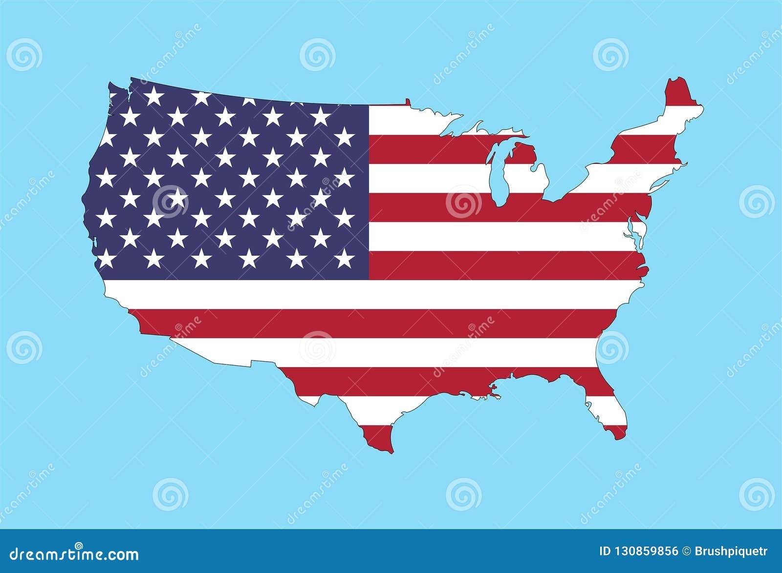 Die Vereinigten Staaten Von Amerika Zeichnen Mit Usa Flagge Auf