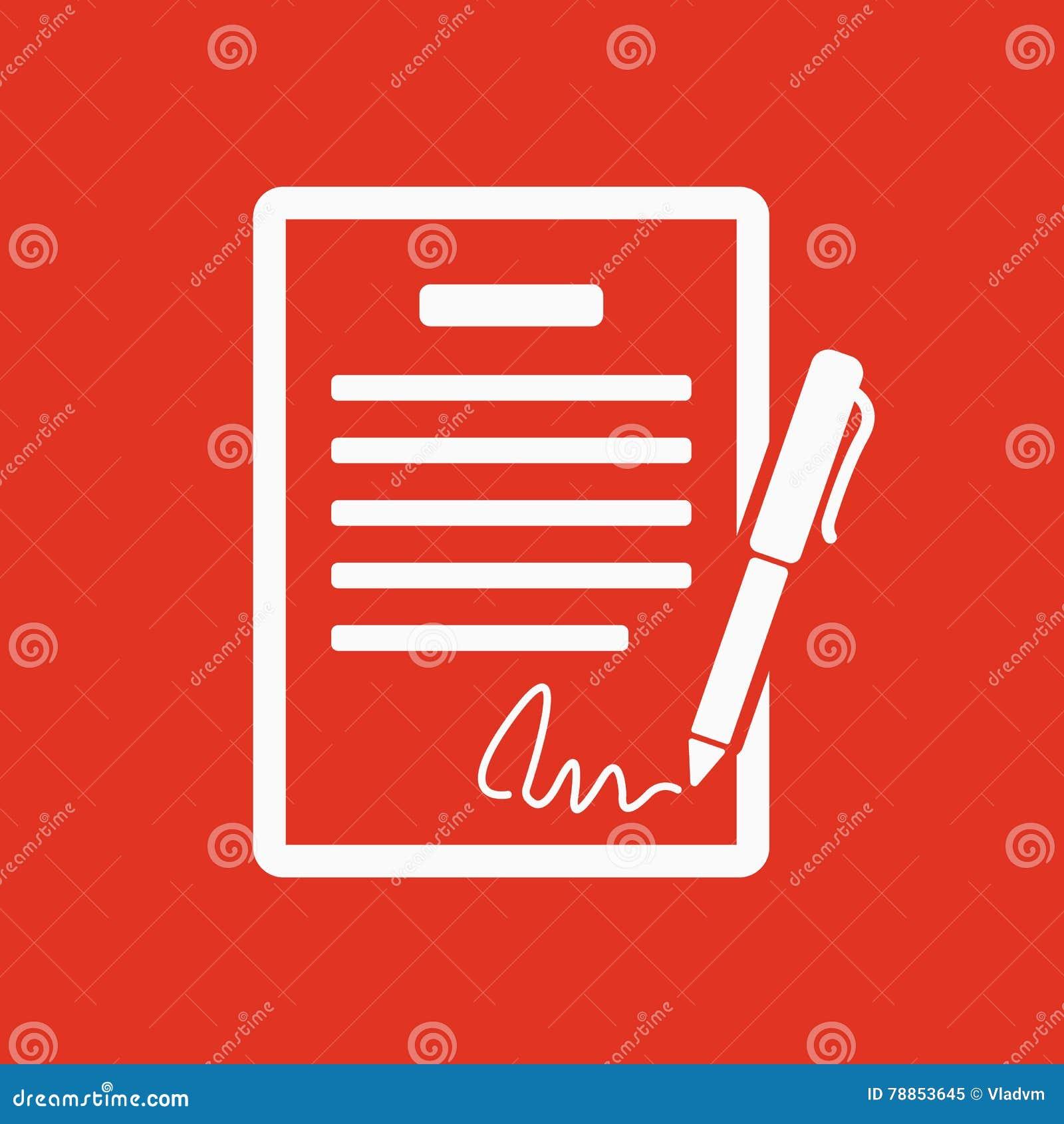 Die Vertragsikone Vereinbarung und Unterzeichnung, Pakt, Abkommen, Versammlungssymbol flach