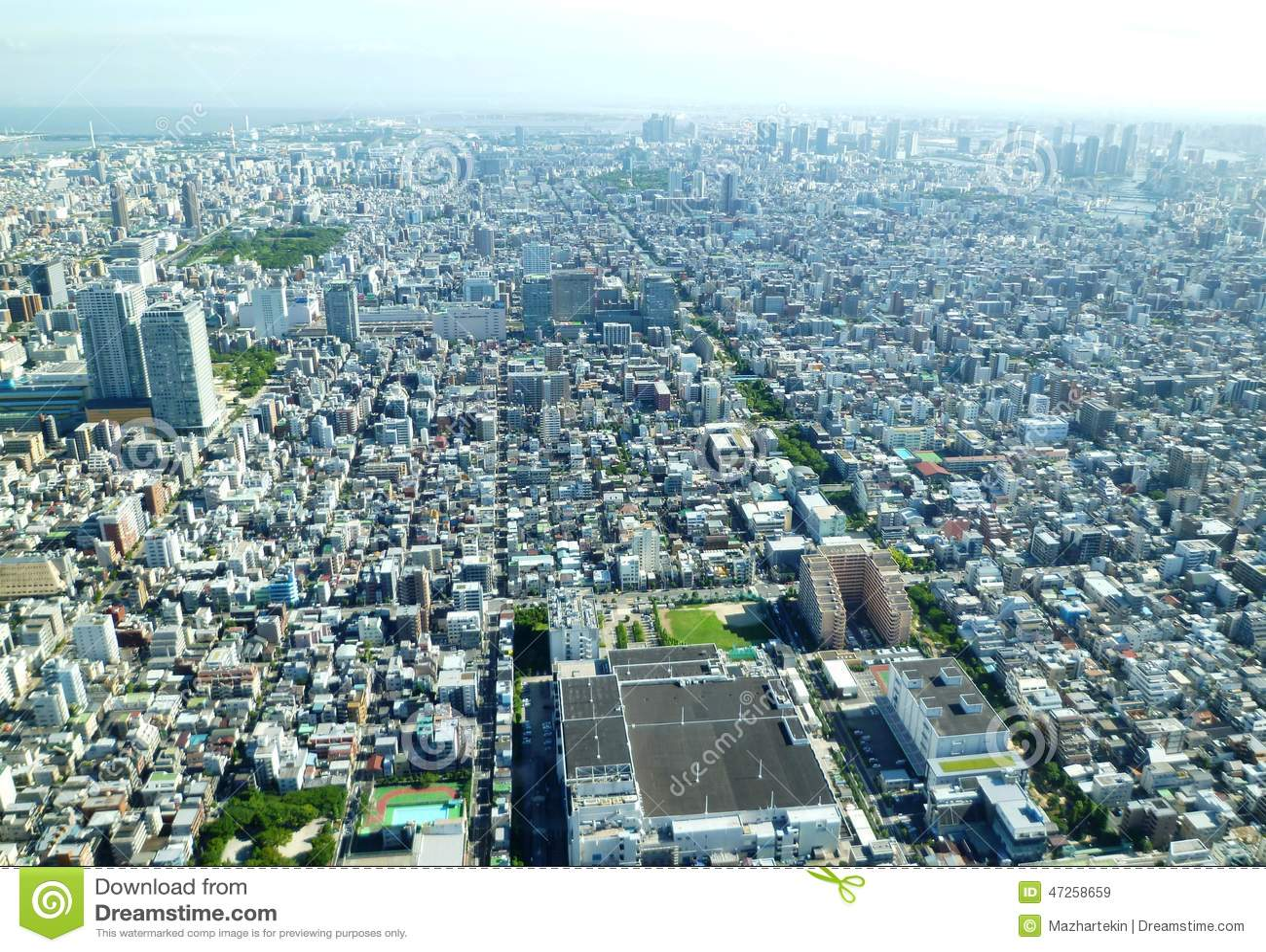Die Vogelperspektive des Stadt eingelassenen Japans, Tokyos drängte die schöne Landschaft sehr