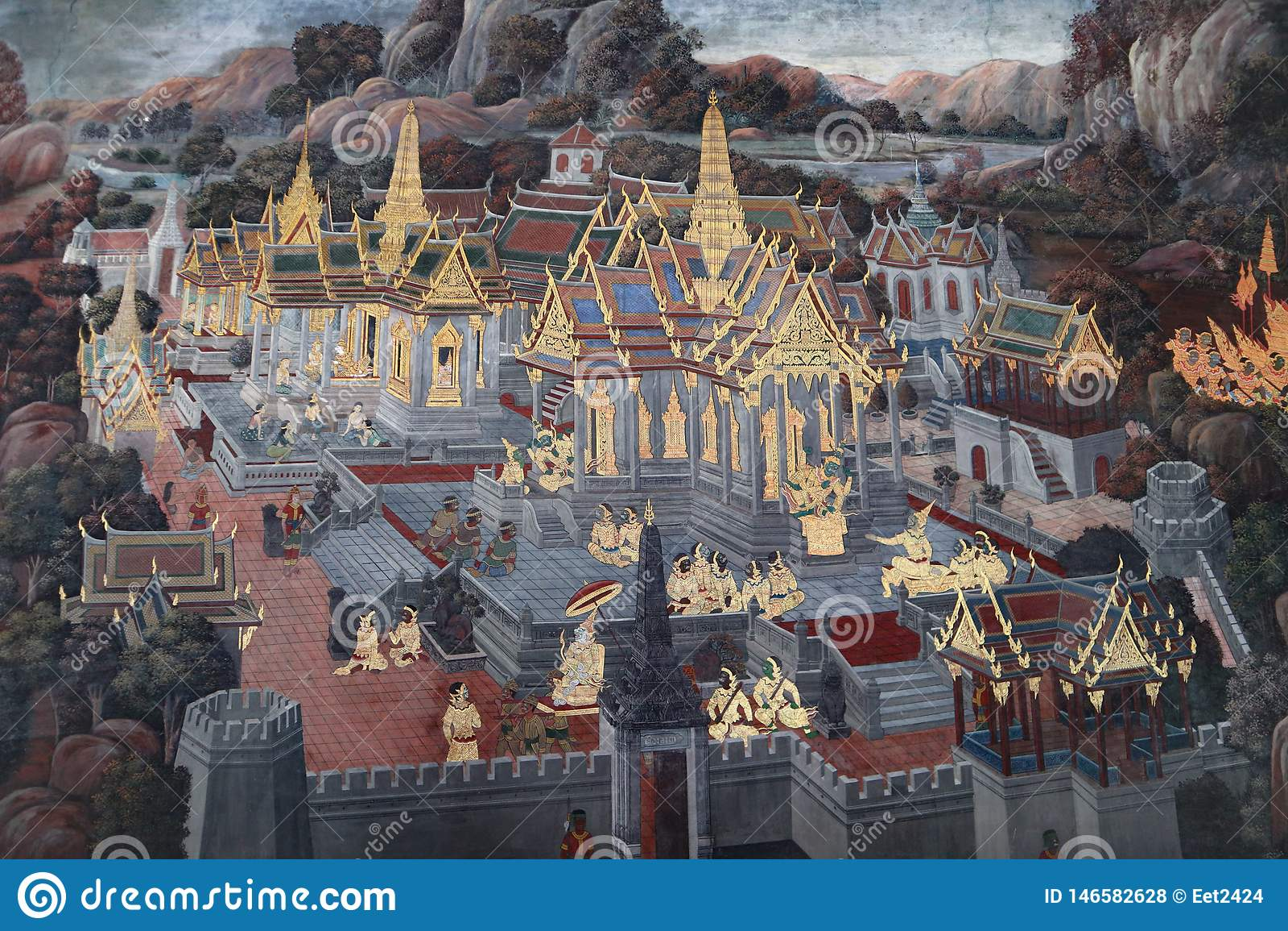 Die Wandmalereien Ramakien Ramayana entlang den Galerien des Tempels Emerald Buddhas, des gro?artigen Palastes oder des wat phra