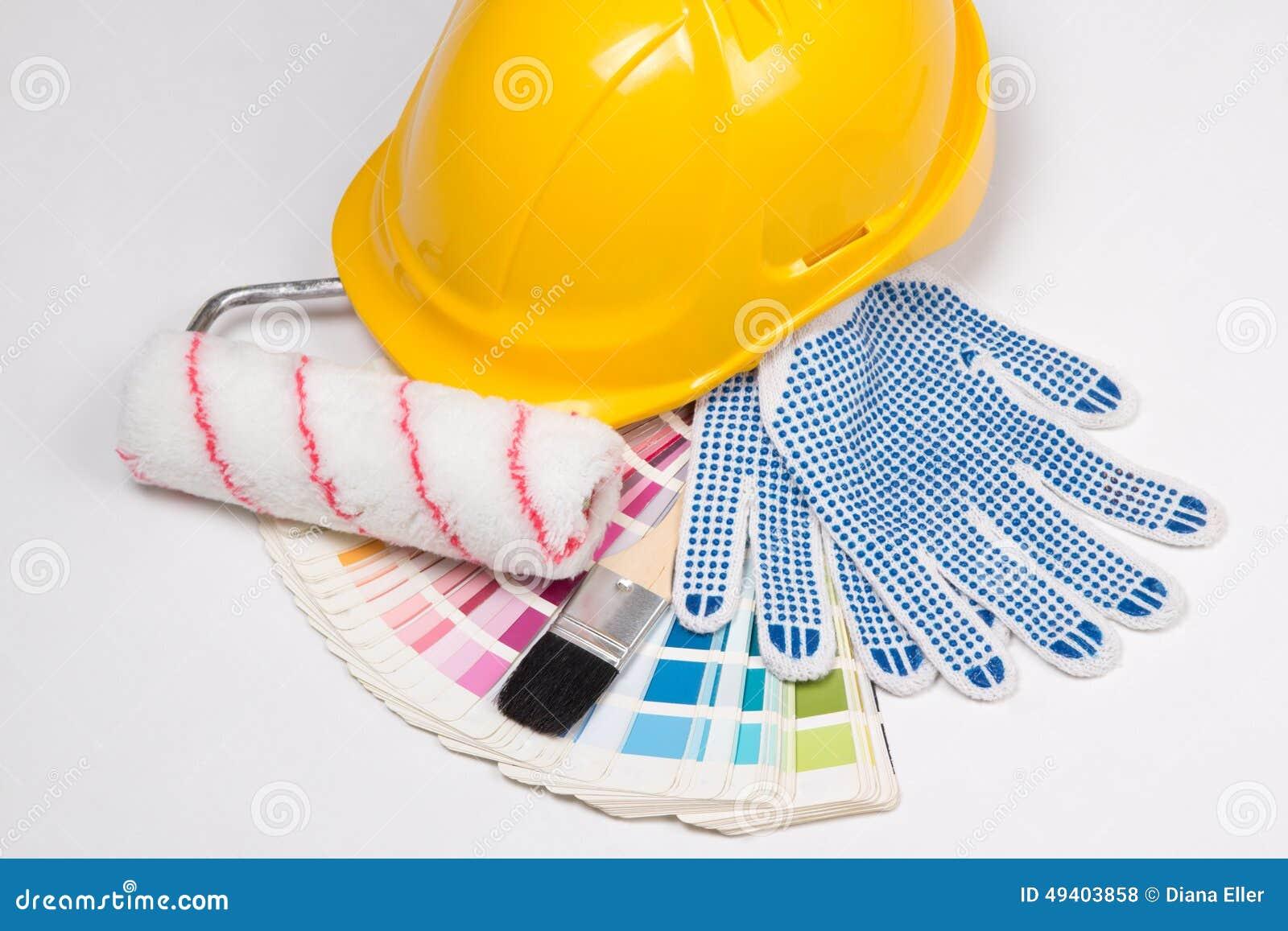 Download Die Werkzeuge Des Malers - Bürsten, Arbeitshandschuhe, Gelber Sturzhelm Und Colorf Stockfoto - Bild von konzept, haus: 49403858