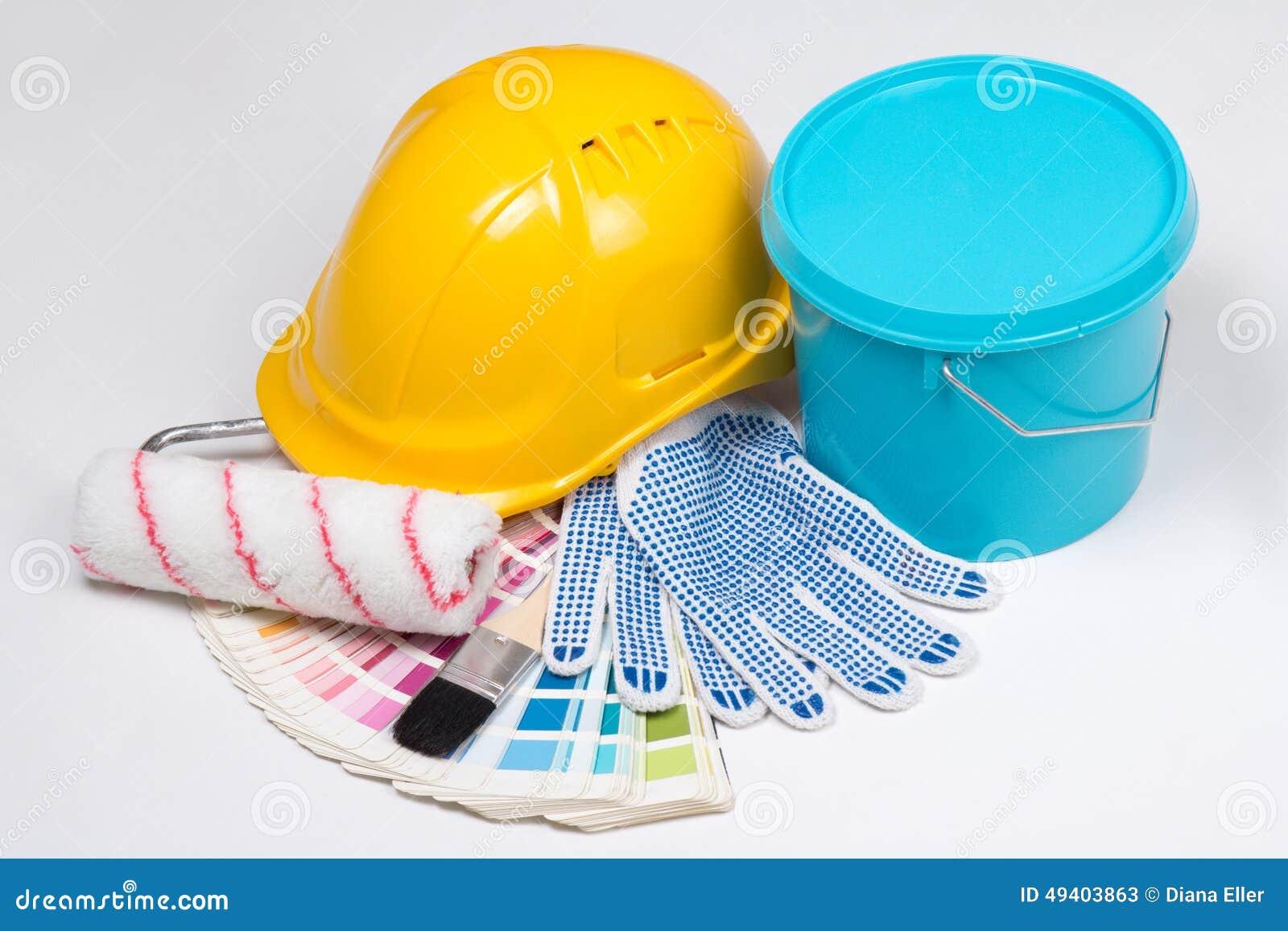 Download Die Werkzeuge Des Malers - Bürsten, Arbeitshandschuhe, Sturzhelm Und Eimer Pai Stockbild - Bild von konzept, verbesserung: 49403863