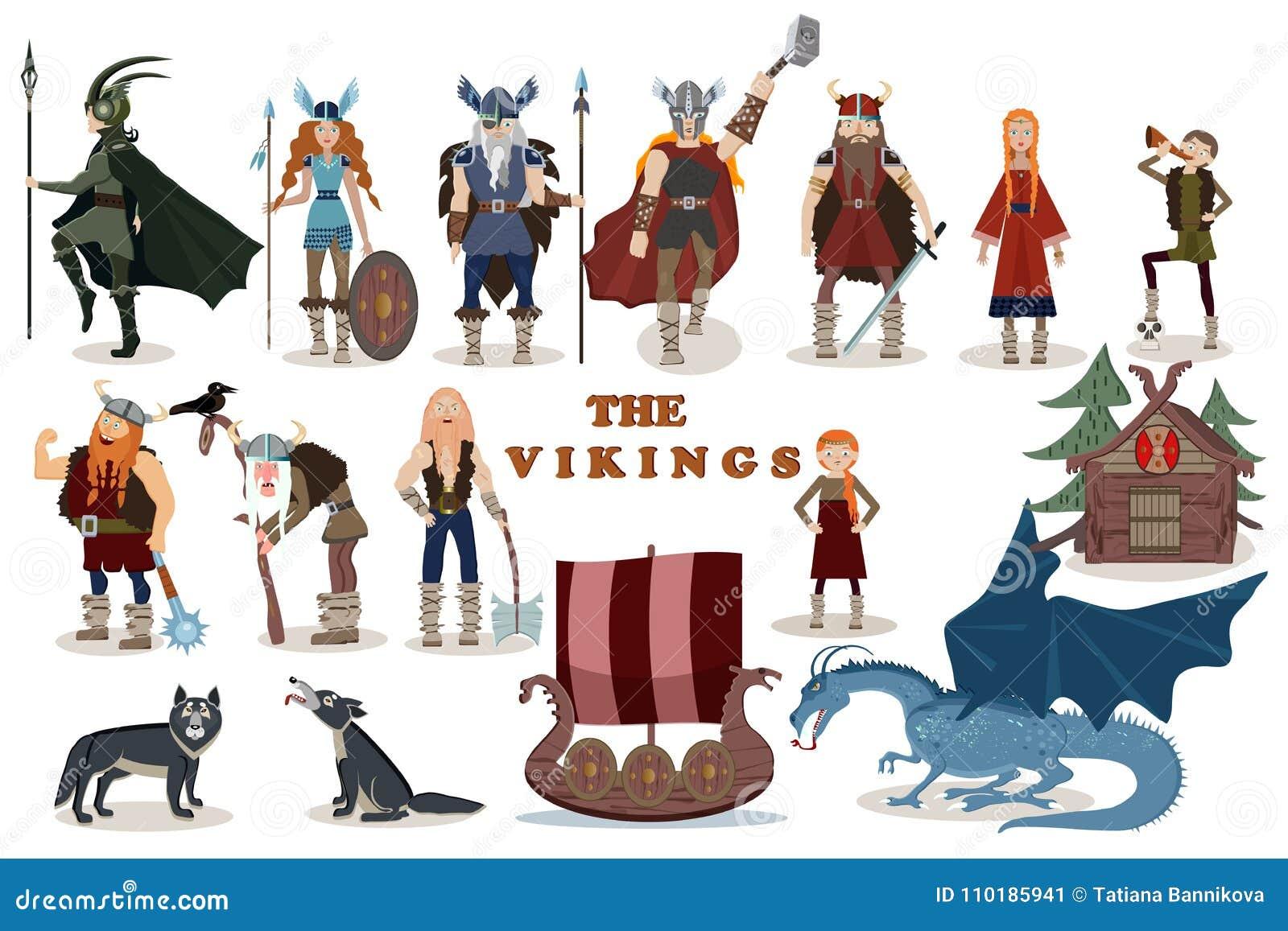 Die Wikinger Viking Zeichentrickfilm Figuren Vektor Abbildung
