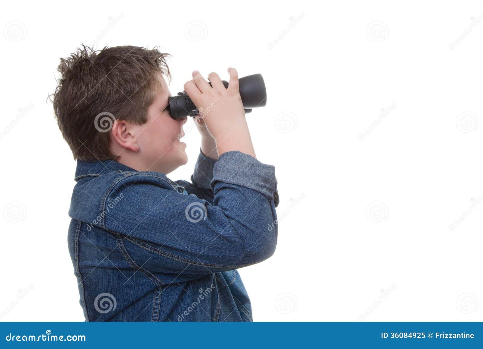 Die zukunft unserer kinder junge mit ferngläsern stockbild bild