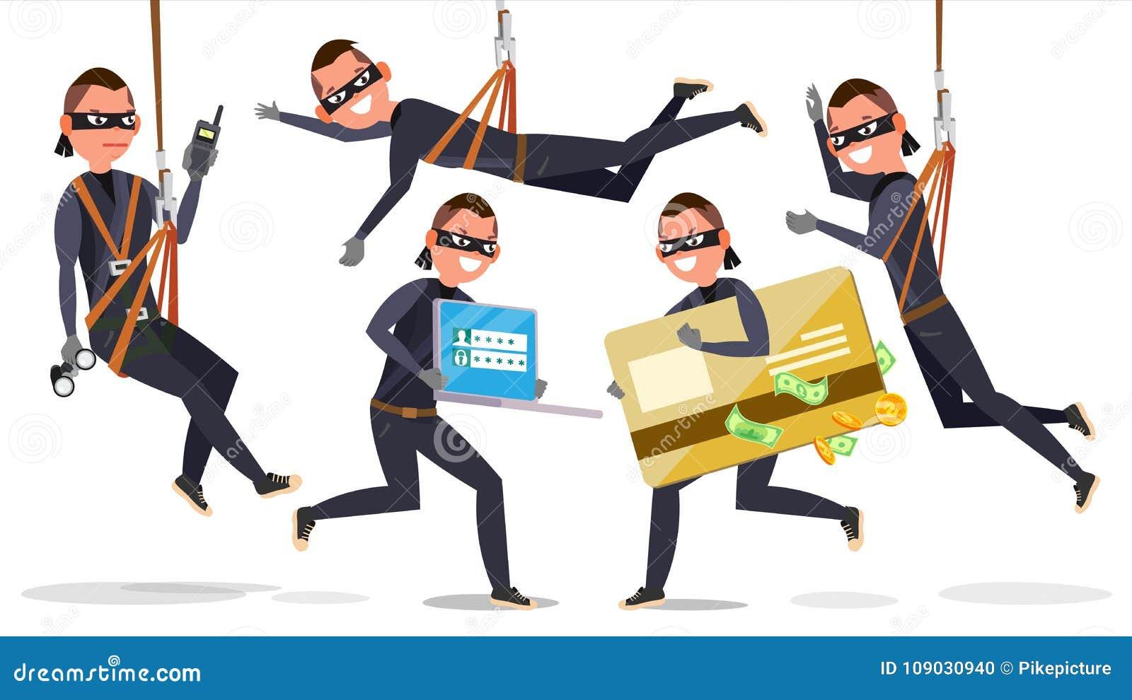 Dieb, Hacker-Mann-gesetzter Vektor Diebstahl von Kreditkarte-Informationen, Personendaten, Geld Fischerei des Angriffs flach