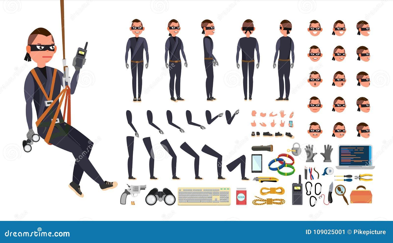 Dieb, Hacker-Vektor lebhafter Charakterschaffungssatz Schwarze Schablone Werkzeuge und Ausrüstung In voller Länge, vorder, Seite,