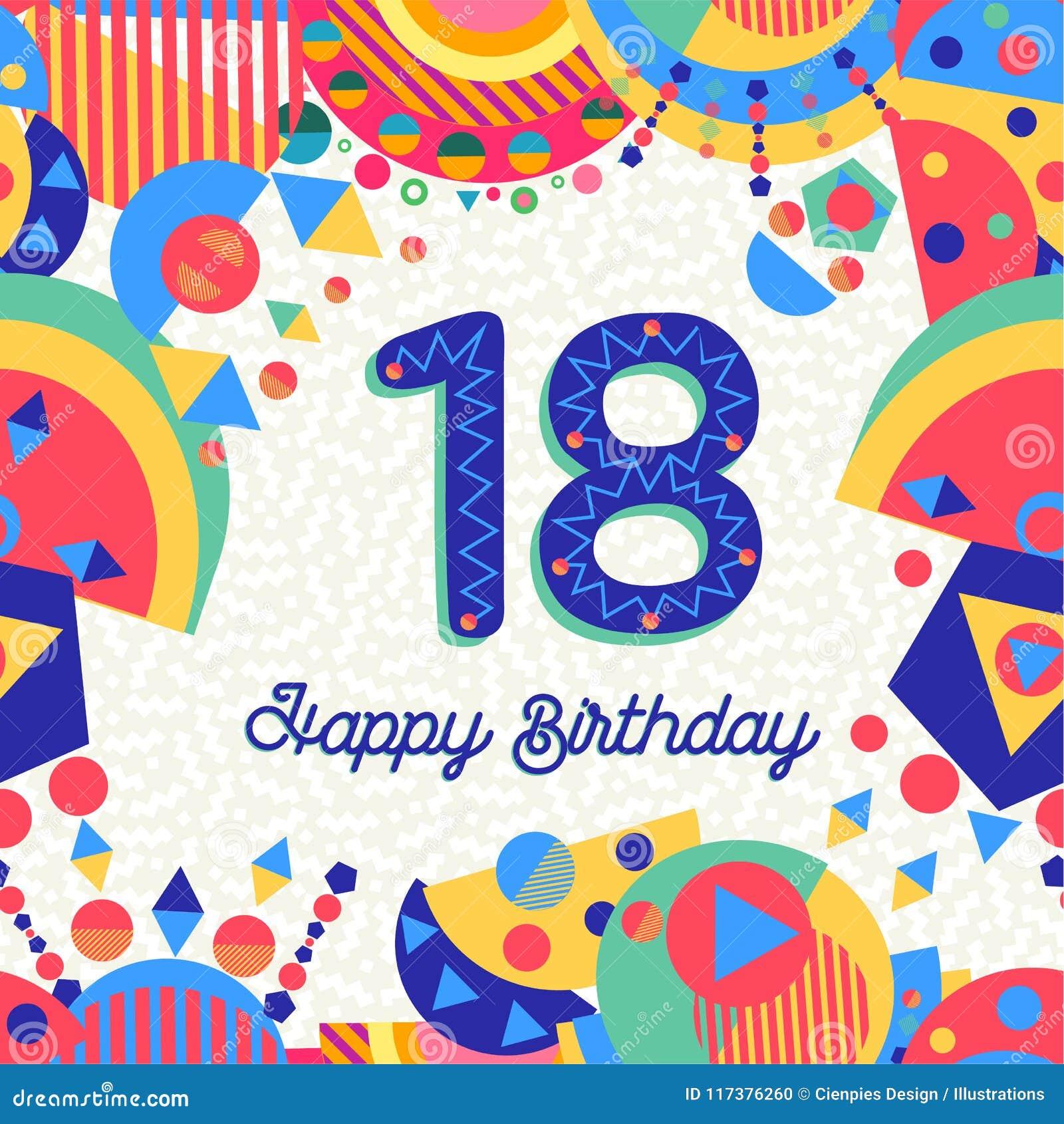 7b13b40e4 Dieciocho número de la tarjeta de felicitación del cumpleaños de 18 años