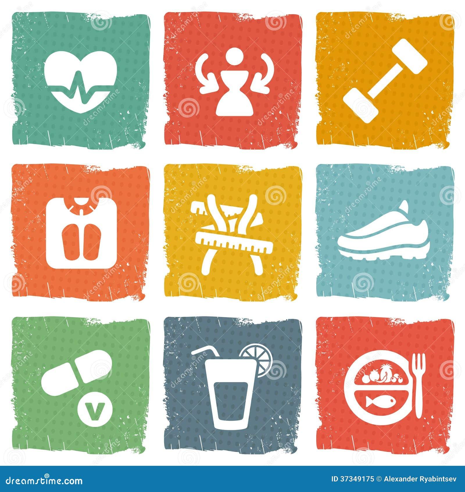 Dieet en geschiktheids geplaatste themapictogrammen
