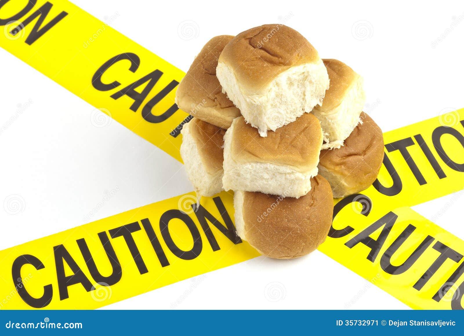 Dieetwaarschuwing of gluten/tarweallergiewaarschuwing