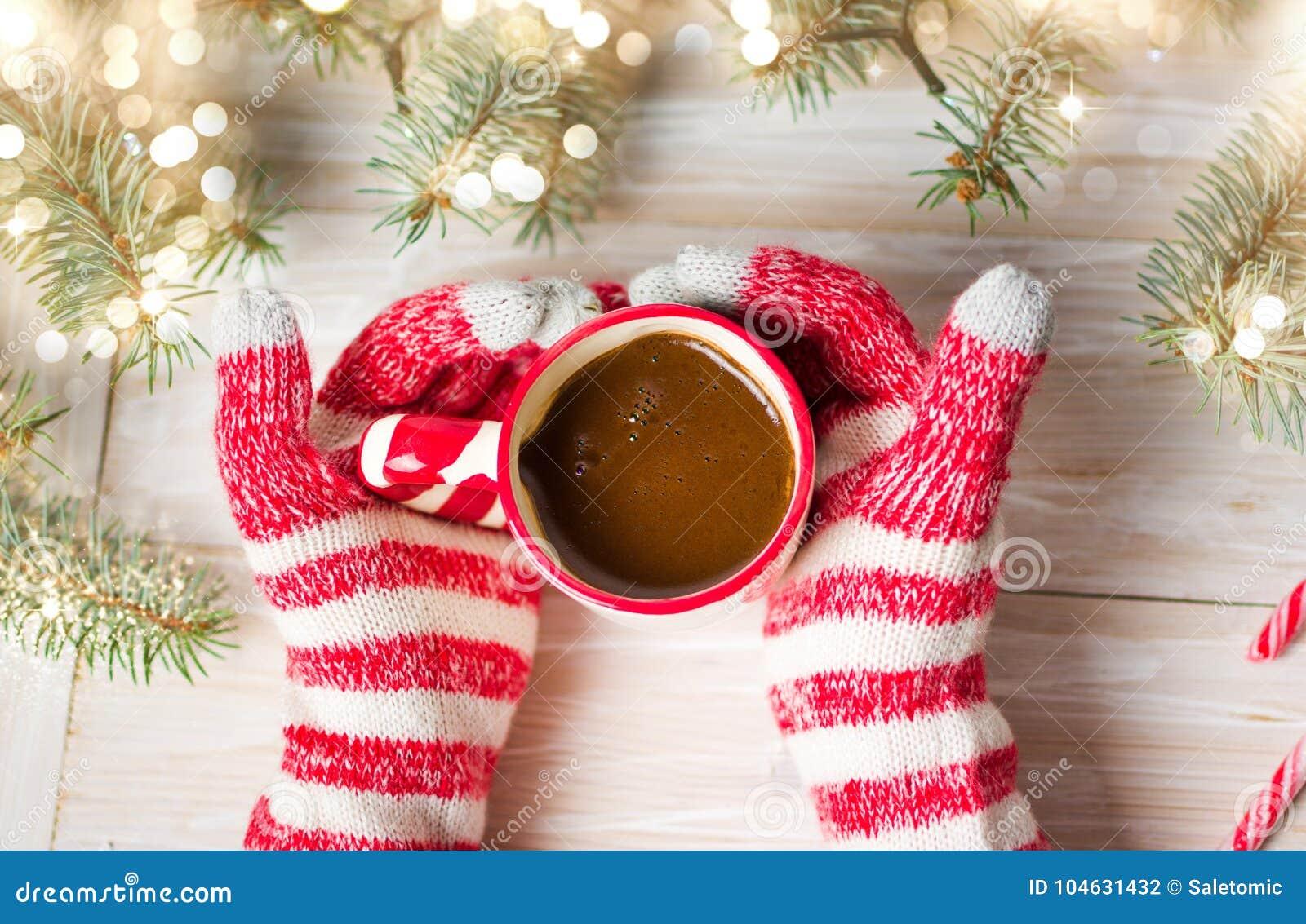 Download Dient De Winterhandschoenen In Houdend Een Kop Van Koffie Stock Foto - Afbeelding bestaande uit hand, gebreid: 104631432