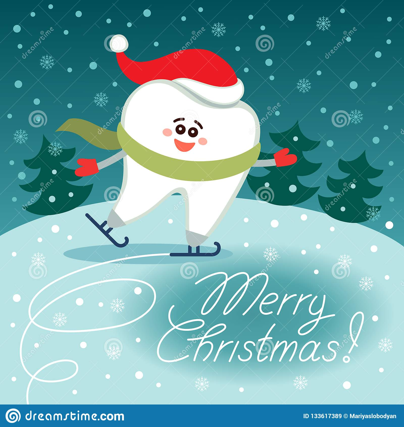 Diente patinador de la historieta en el sombrero de Papá Noel ¡Feliz Navidad!