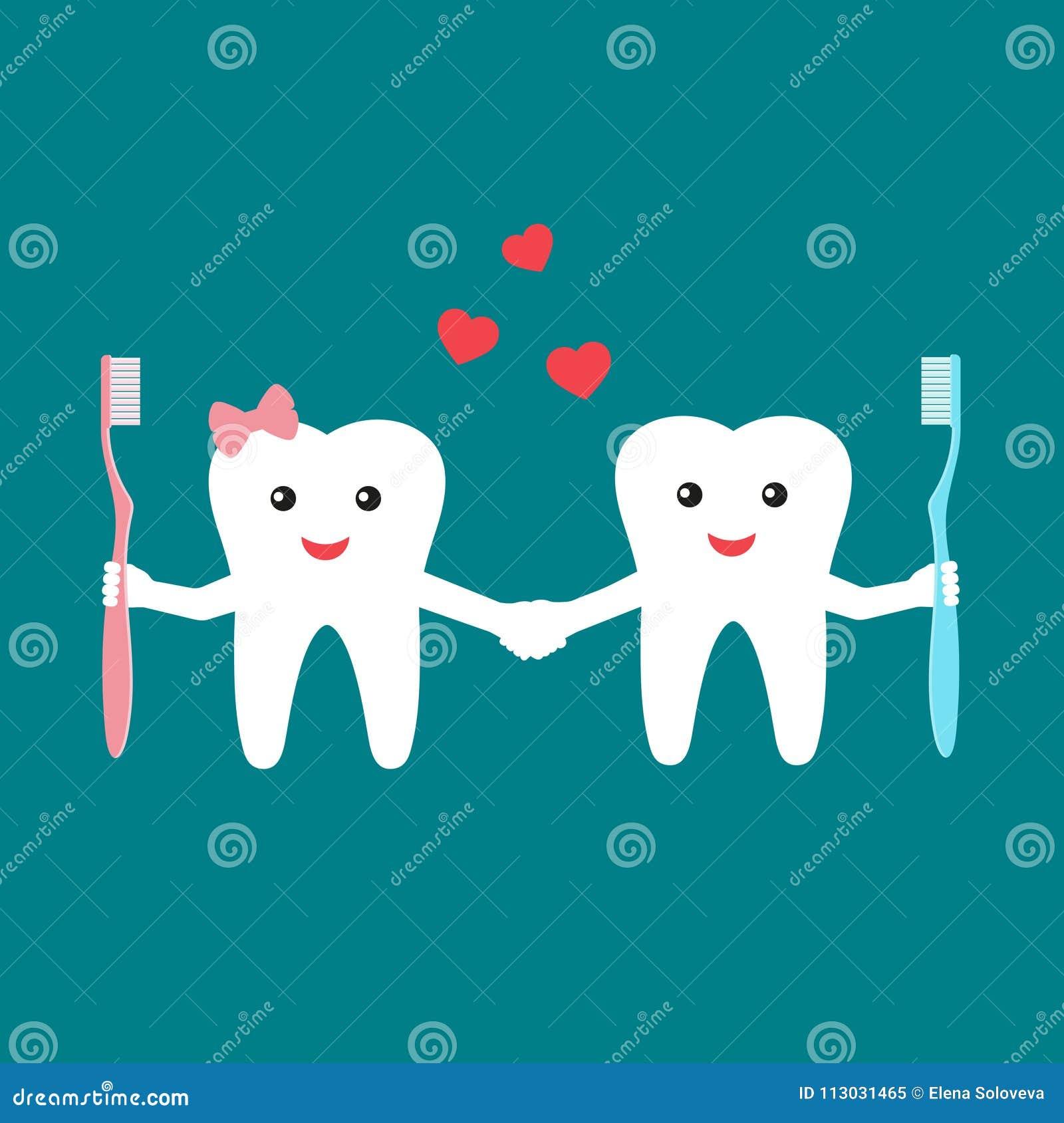 Dientes divertidos de la historieta que sostienen el cepillo de dientes y que llevan a cabo las manos