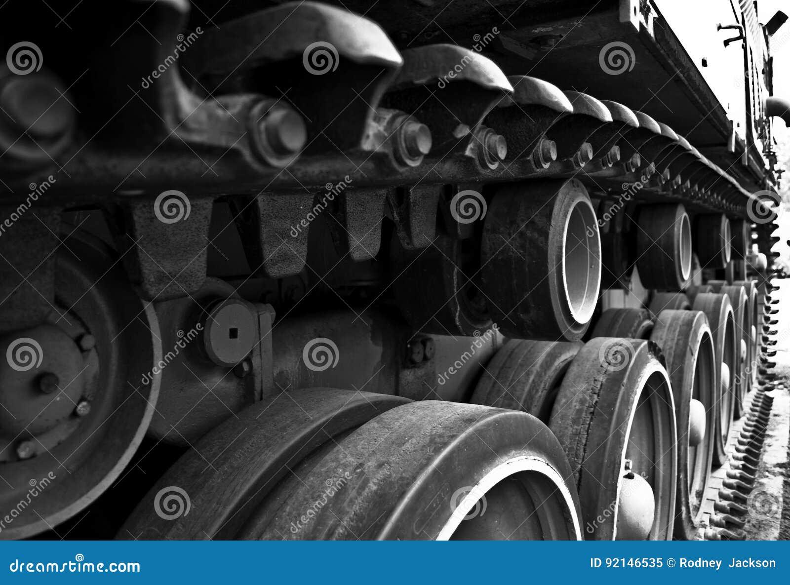 Dientes en el montaje de pista de un tanque WW2