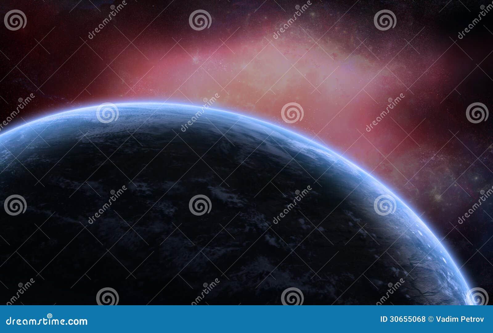 Diepe Ruimtenevel met Planeet