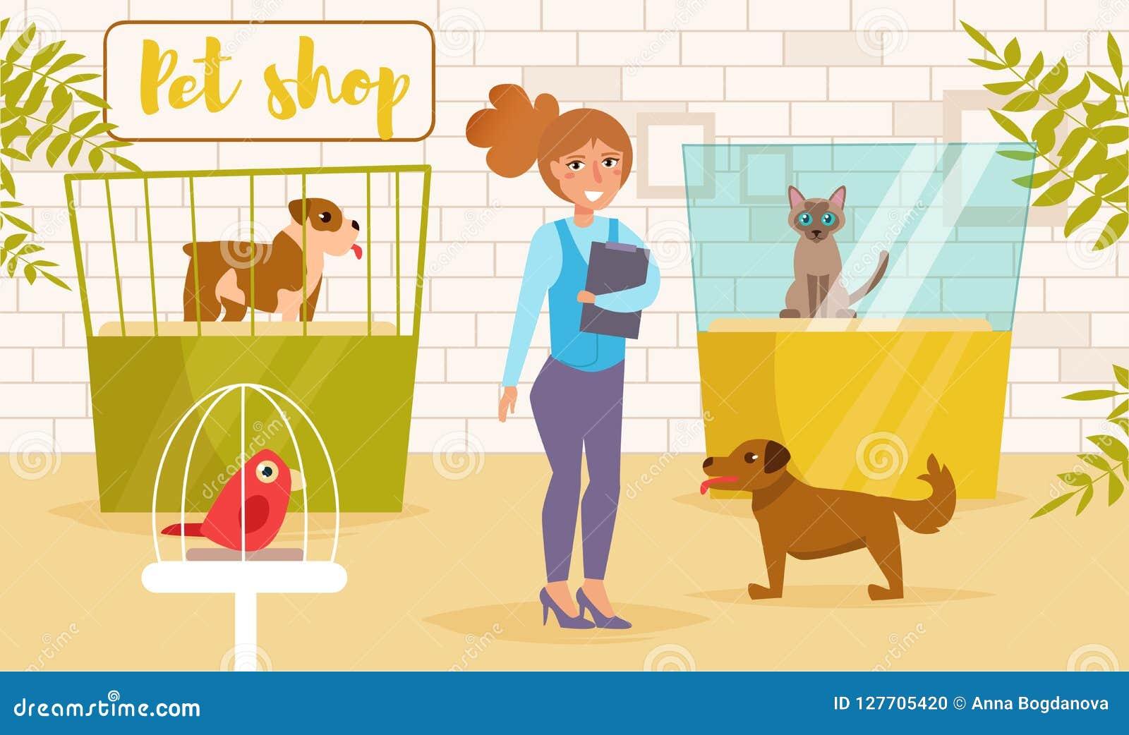 Dierenwinkelvector beeldverhaal Geïsoleerd art. De vlakke Kat toont