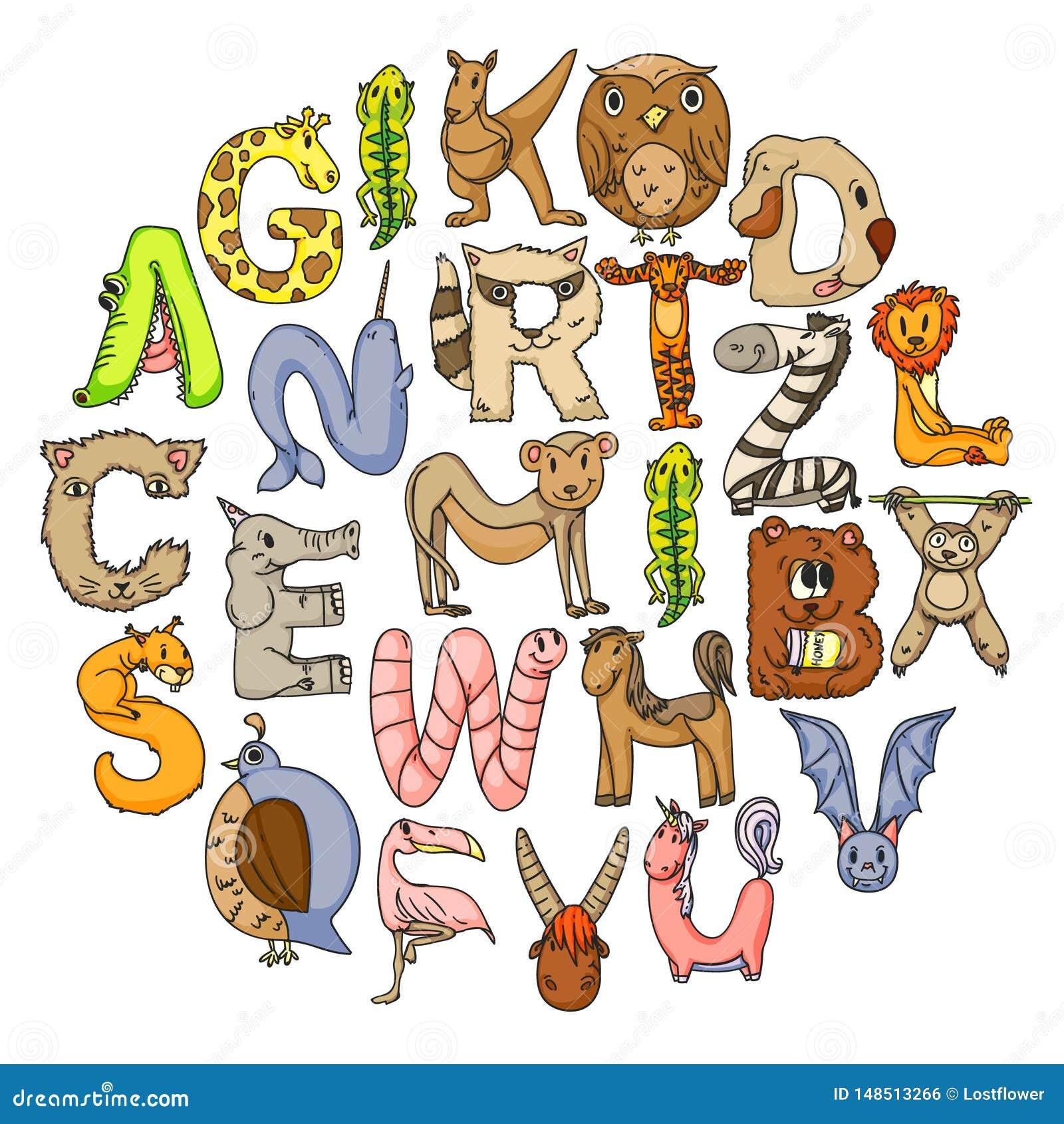 Dierlijk alfabet Dierentuinalfabet Brieven van A aan Z Beeldverhaal leuke dieren Olifant, hond, flamingo, giraf, paard
