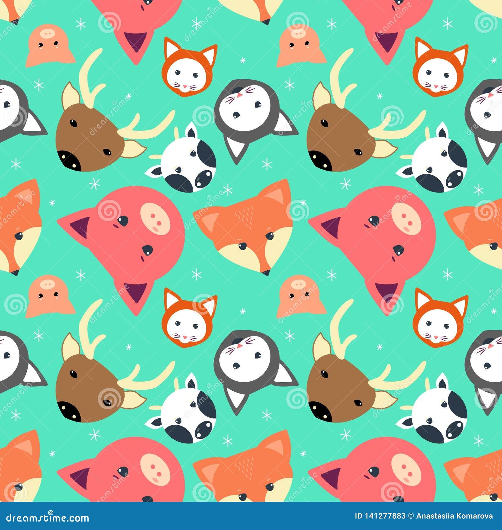 Dierlijk naadloos patroon met koe, vos Kat beste, varken in vlak ontwerp