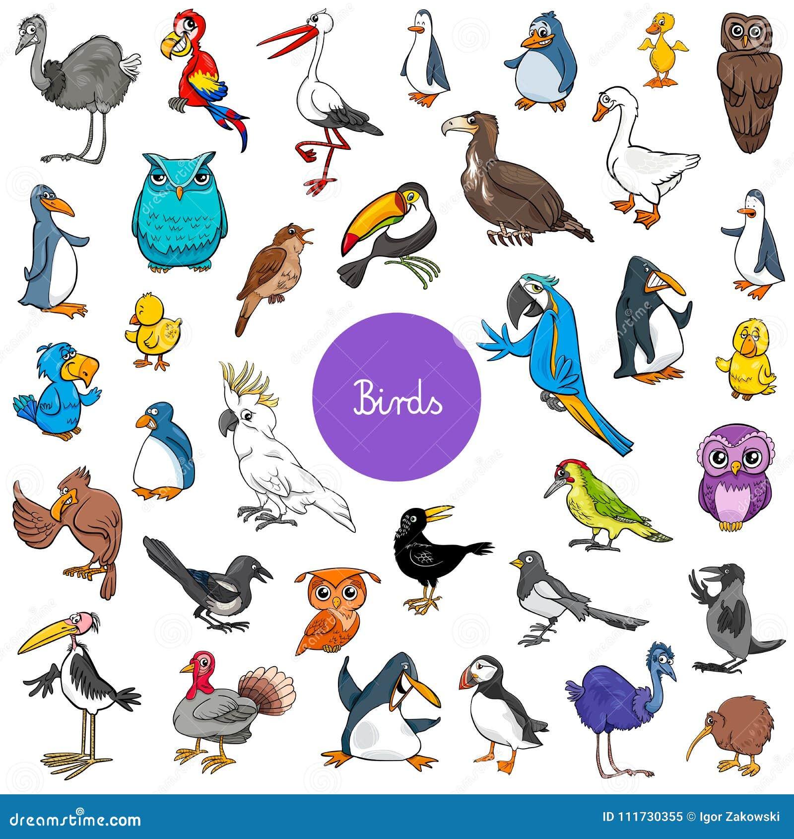 Dierlijke de karakters grote reeks van beeldverhaalvogels