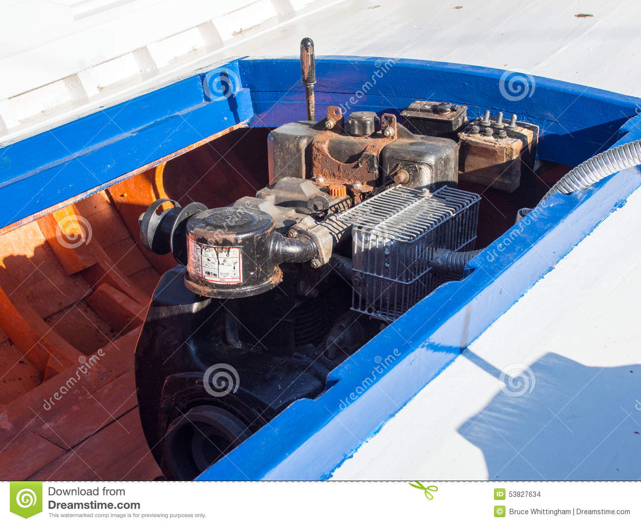 Diesel Boat Engine In Greek Fishing Boat Stock Photo - Image