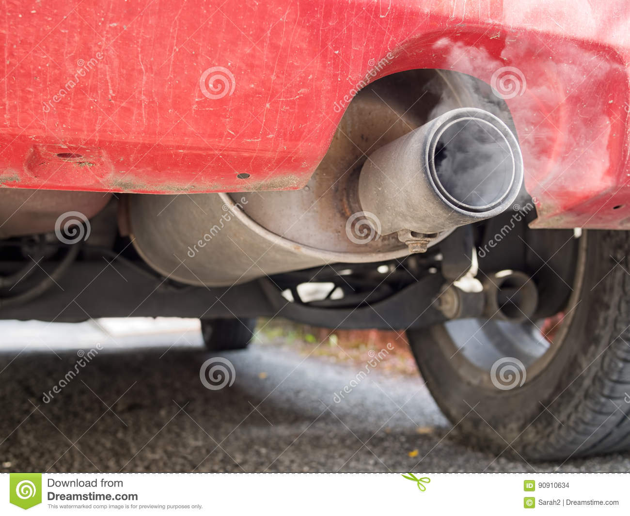 Diesel Exhaust Old Red Car Detail With Smoke Stock Photo Image