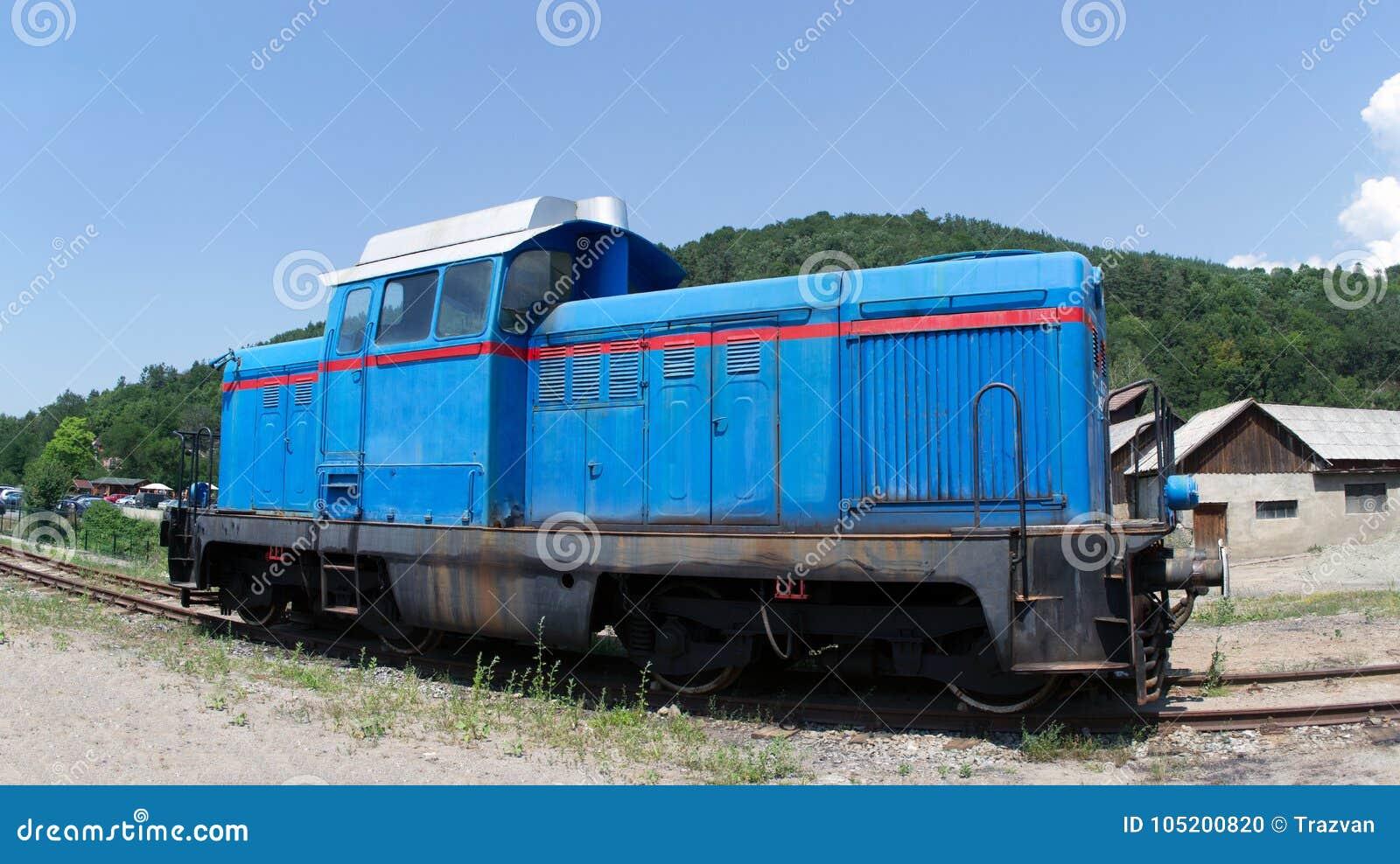 Diesel hydraulische blauwe locomotief