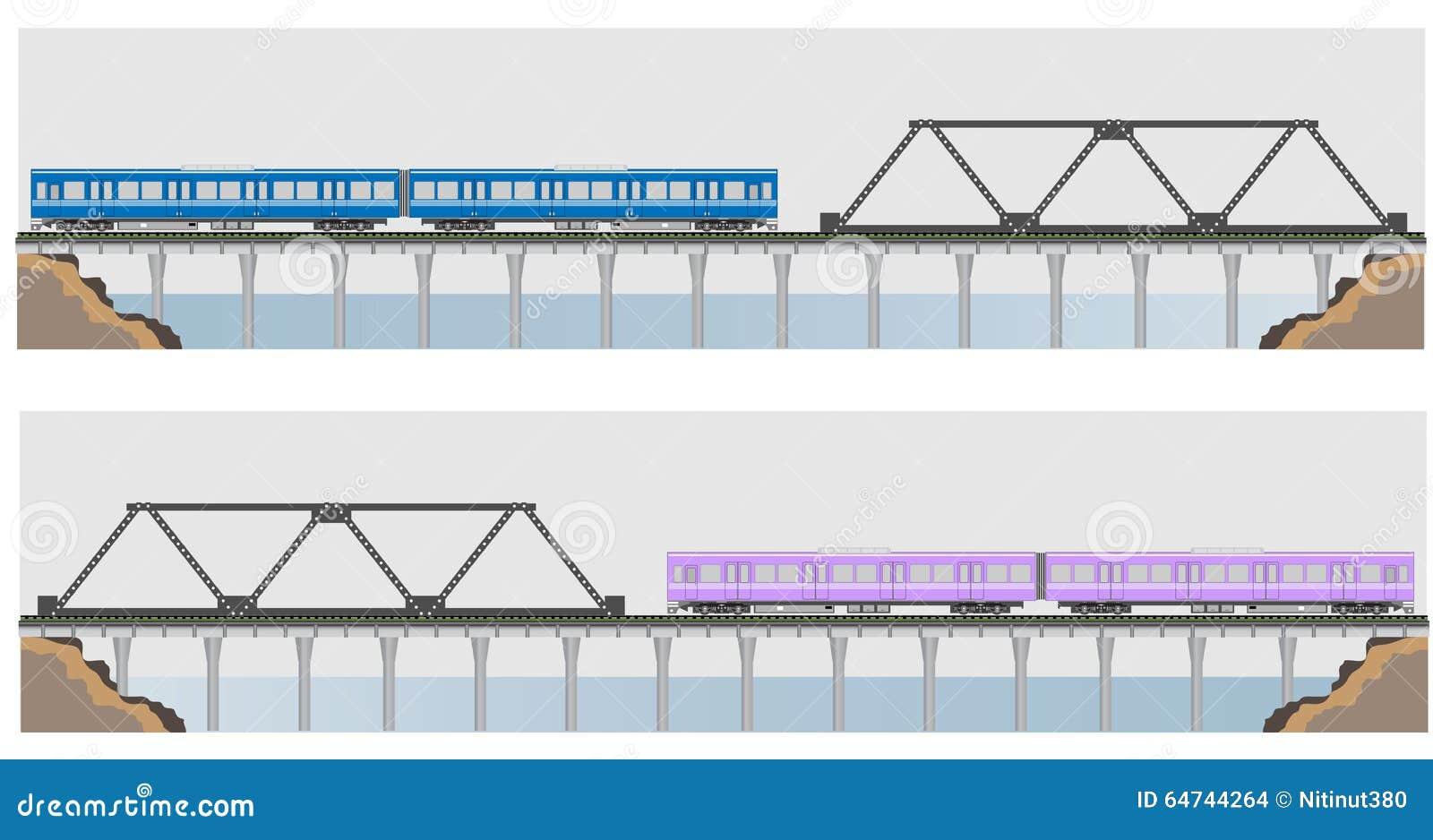 Diesel Railcar Train And Bridge Stock Illustration Illustration Of Freight Speed 64744264