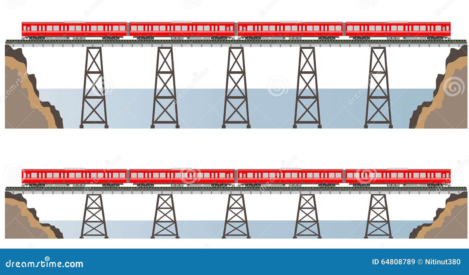 Diesel Railcar Train And Bridge Stock Illustration Illustration Of Subway Side 64808789