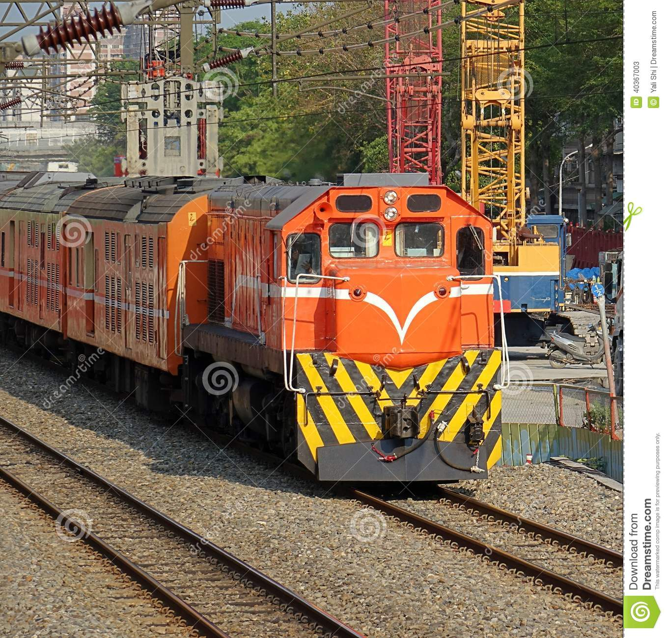 Diesel Train Passes Construction Site Stock Image - Image of cabin