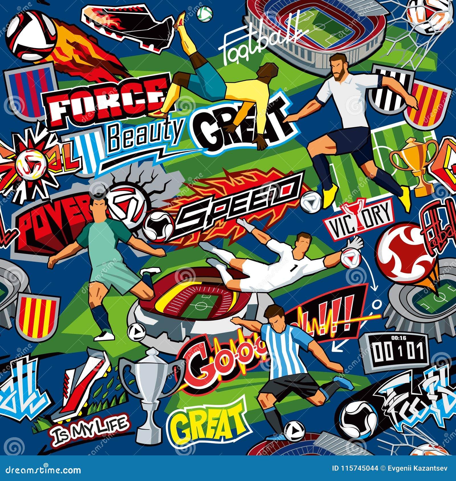 Dieses ist Datei des Formats EPS10 Nahtloses Muster Fußballattribute, Fußballspieler von verschiedenen Teams, Bälle, Stadien, Gra