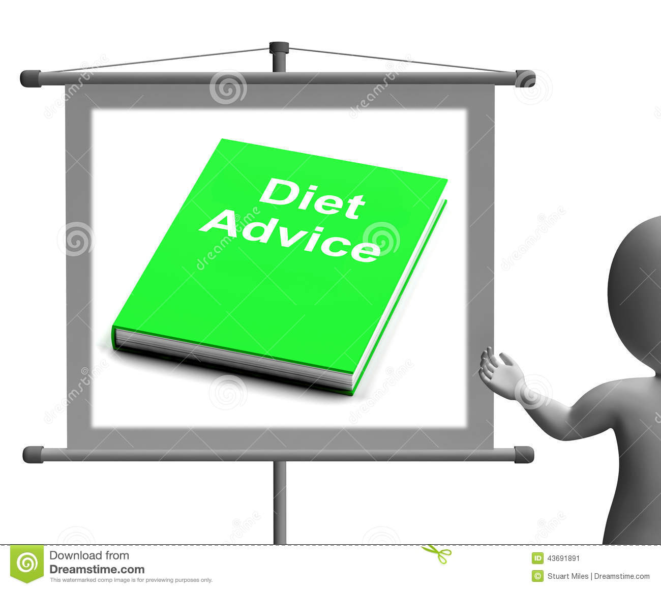 diet advice book sign shows weight loss knowledge stock illustration