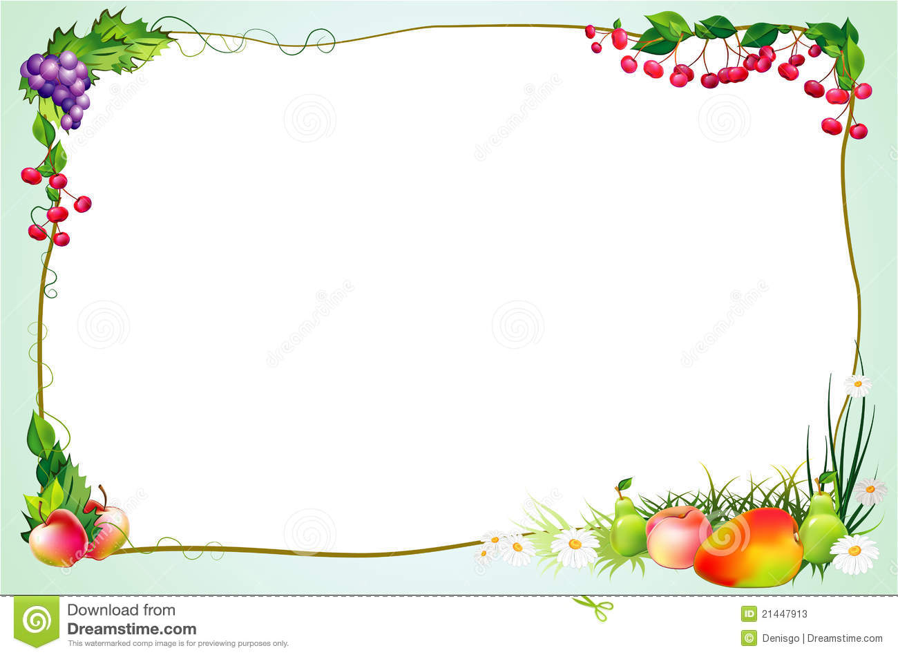 Fruit Borders Clip Art Diet border with fruits and
