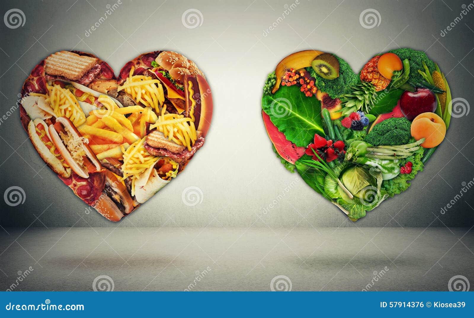 Diet choice dilemma and heart health concept