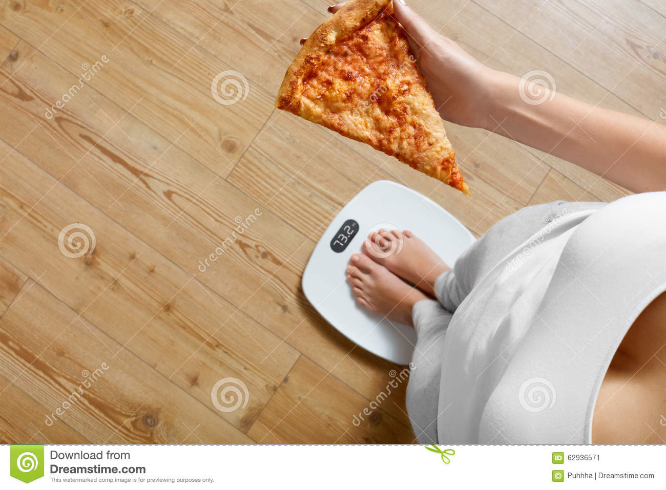Diet, Fast Food. Woman On Scale Holding Pizza. Obesity.