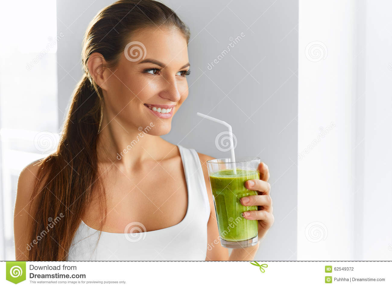 Diet. Healthy Eating Woman Drinking Juice. Lifestyle, Food. Nutrition Drinks.