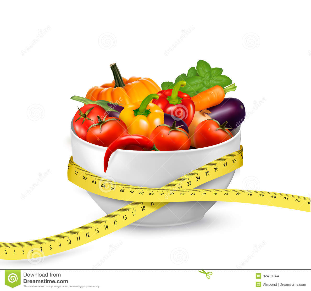 Diet Meal. Vegetables In A Bowl With Measuring Tape. Stock ...