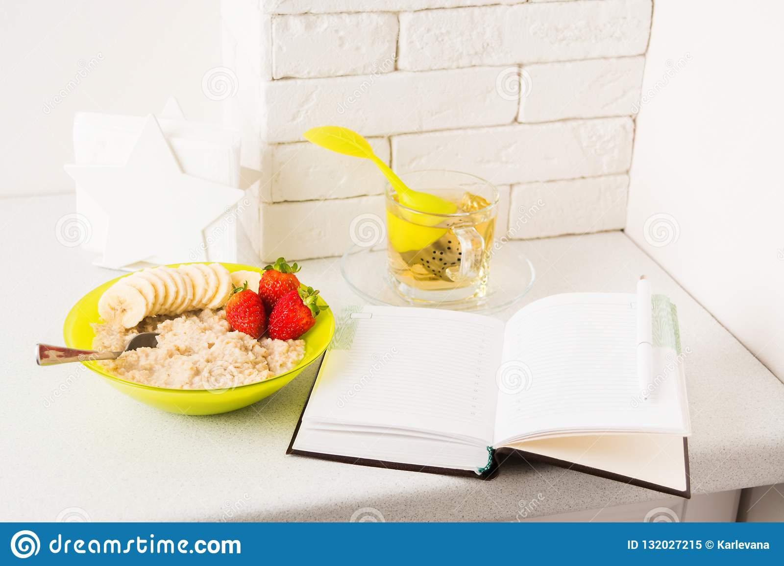 Diet Plan With Healthy Breakfast Of Oatmeal And Tea Stock Image