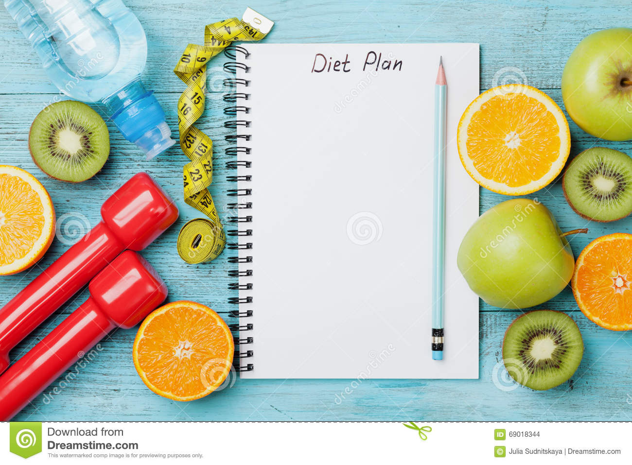 Diet Plan, Menu Or Program, Tape Measure, Water, Dumbbells ...