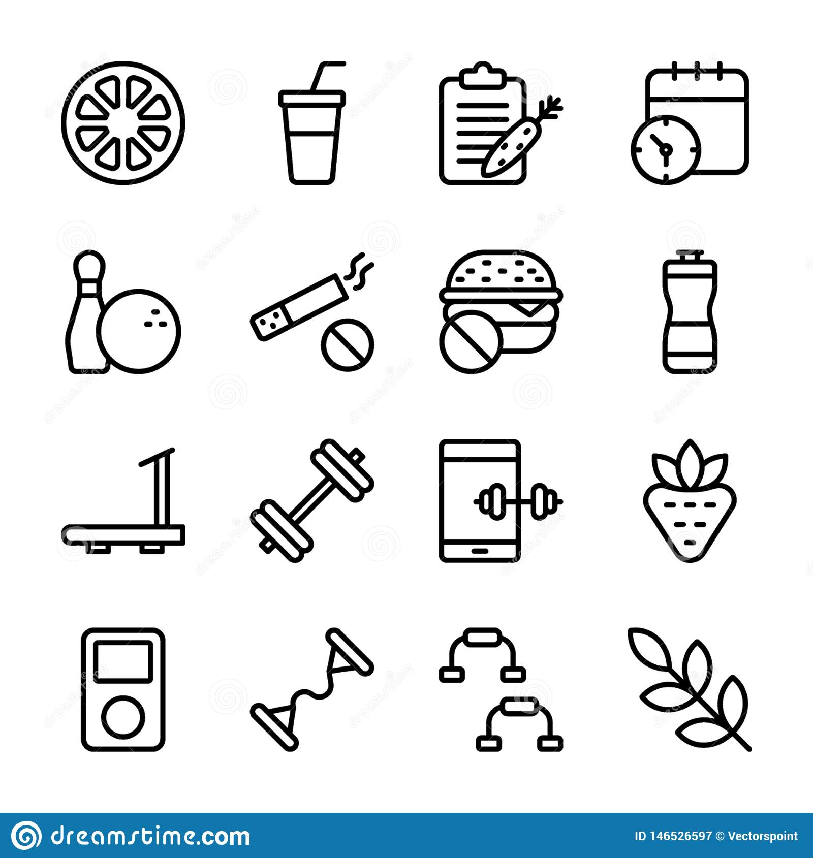 Diet Plan, Sports Supplement, Nutrition Icons Bundle