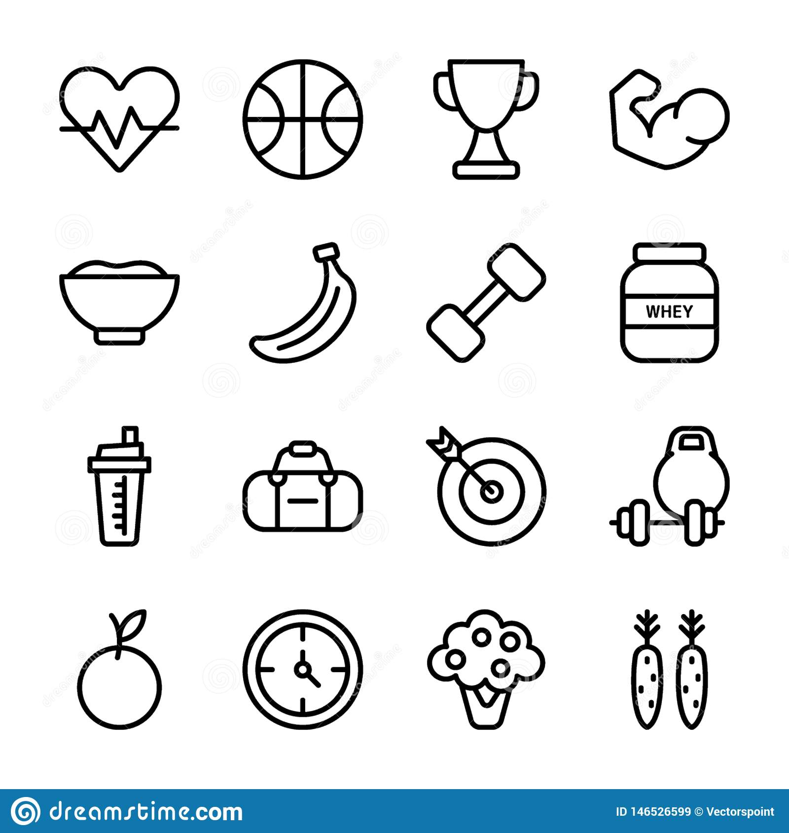 Diet Plan, Sports Supplement, Nutrition Icons Set