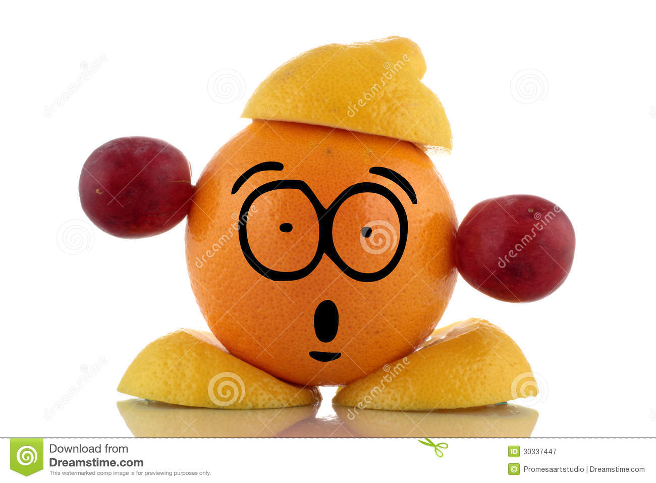 Diet Time. Funny Fruit Character. Royalty Free Stock ...