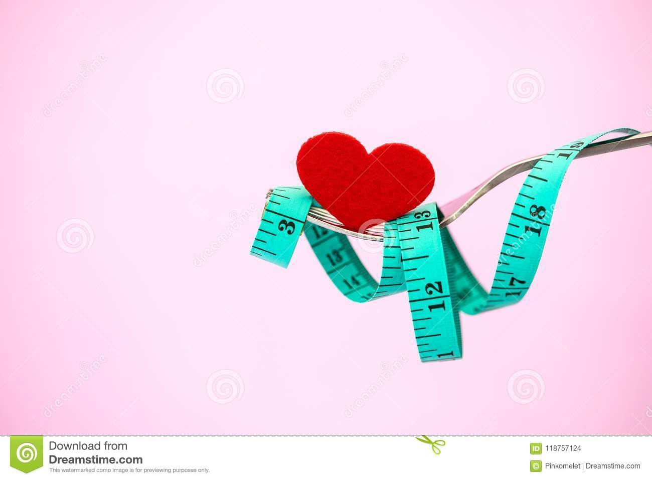 diet for weight loss measuring tape and red heart shape with f