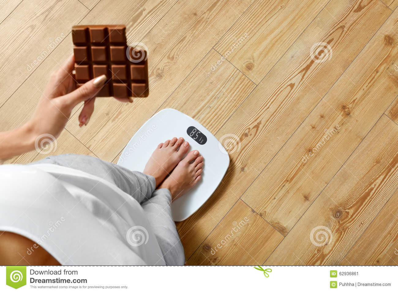 Diet. Woman On Weighing Scale, Chocolate. Unhealthy Food. Weight