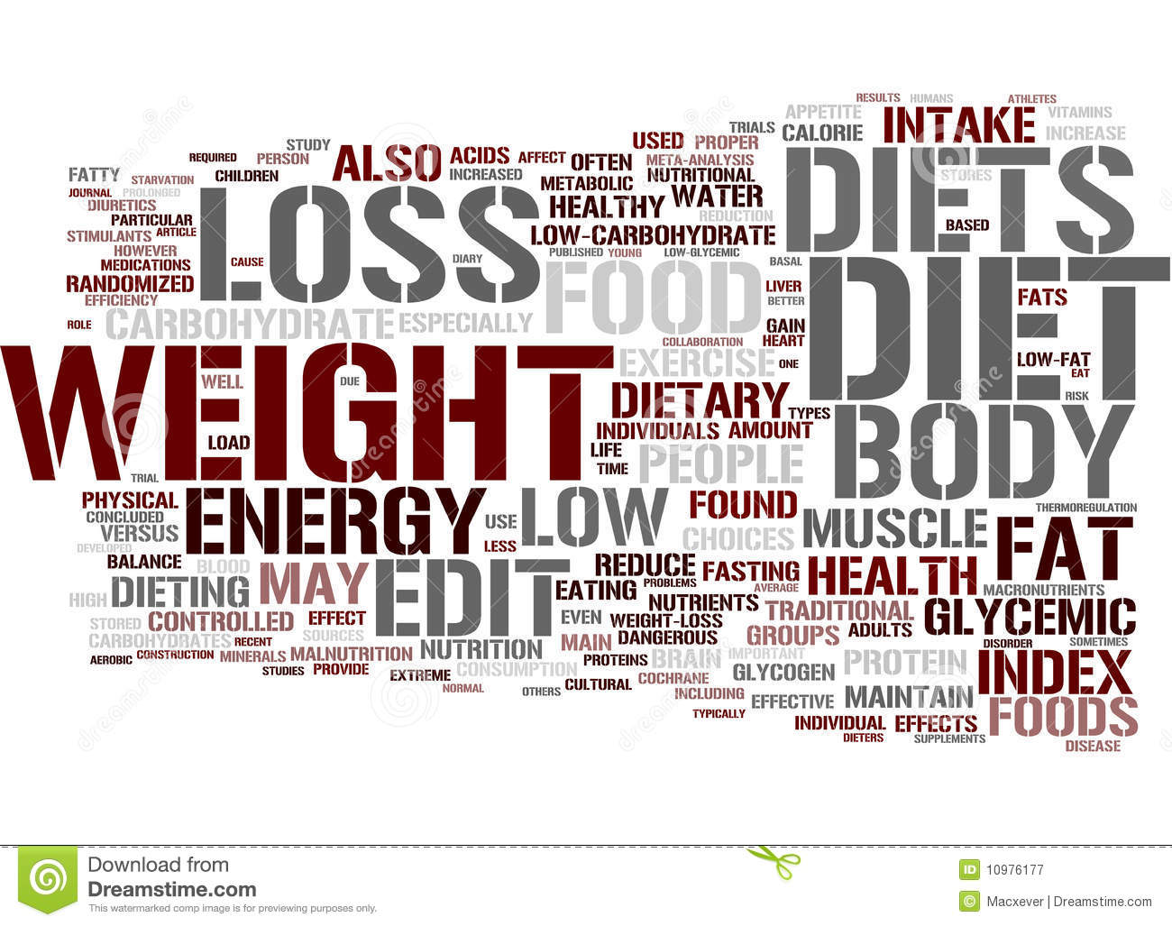 Diet Word Cloud Royalty Free Stock Photography - Image: 10976177
