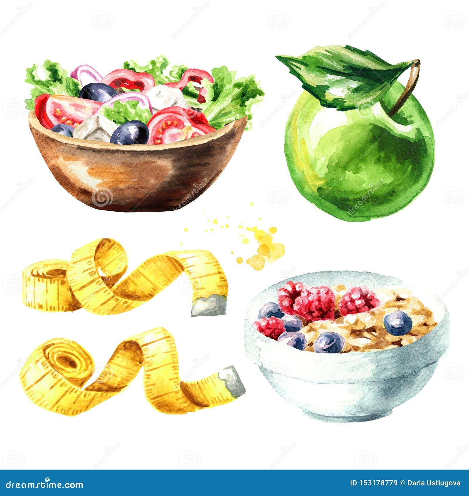 Dieta do conceito Alimento saudável com muesli, salada vegetal, a maçã verde e grupo de fita de medição Ilustra??o tirada m?o da