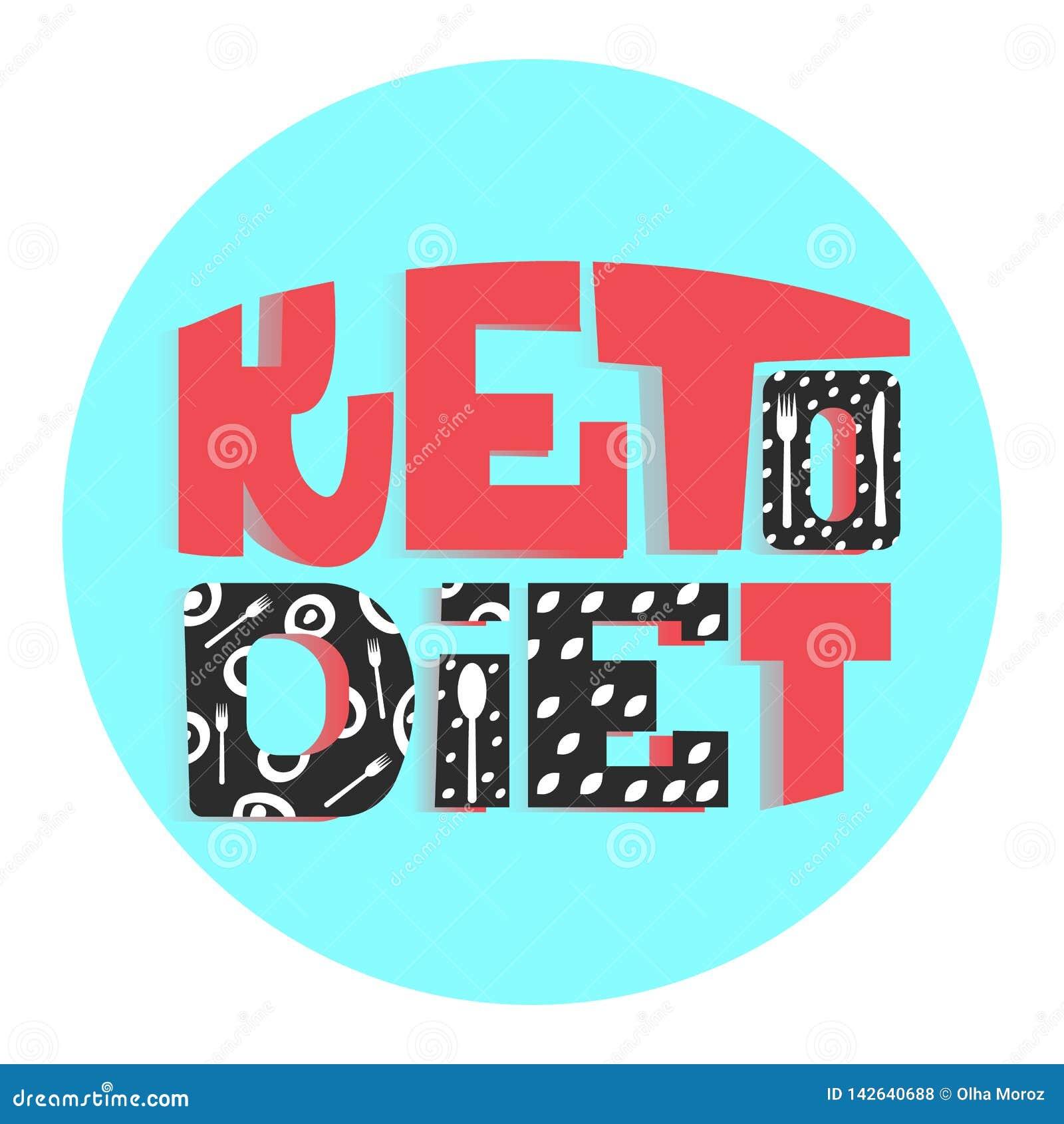 Dieta Ketogenic lo slogan di cibo sano iscrizione Colori variopinti