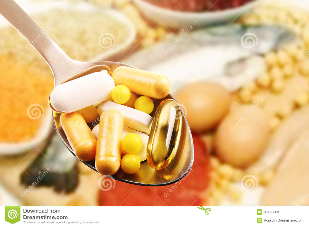 Dietary supplements on protein food background