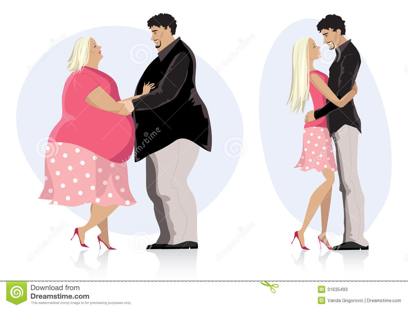 Dieting couple in love